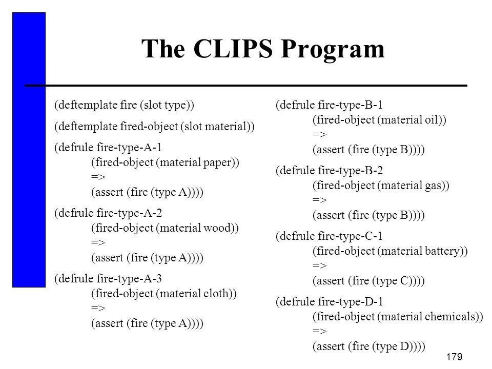 179 The CLIPS Program (deftemplate fire (slot type)) (deftemplate fired-object (slot material)) (defrule fire-type-A-1 (fired-object (material paper))