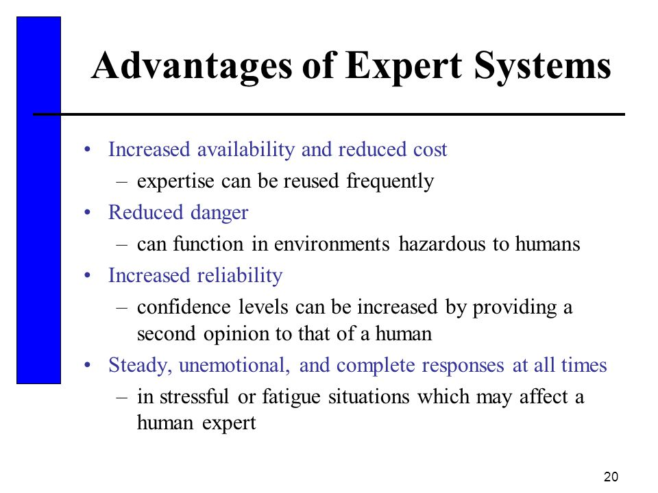 20 Advantages of Expert Systems Increased availability and reduced cost –expertise can be reused frequently Reduced danger –can function in environmen