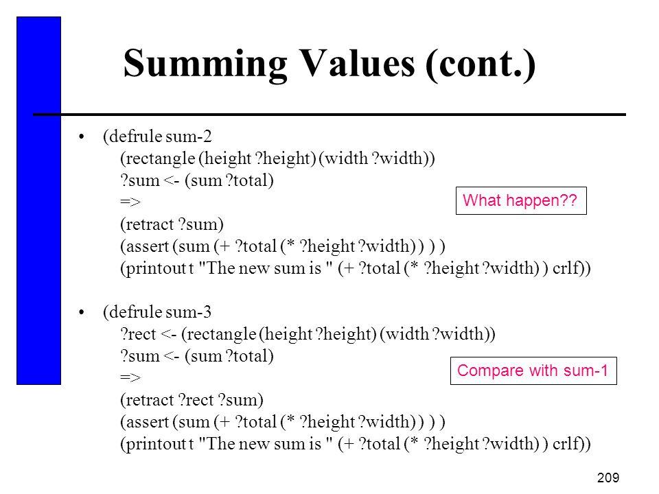 209 Summing Values (cont.) (defrule sum-2 (rectangle (height ?height) (width ?width)) ?sum <- (sum ?total) => (retract ?sum) (assert (sum (+ ?total (*