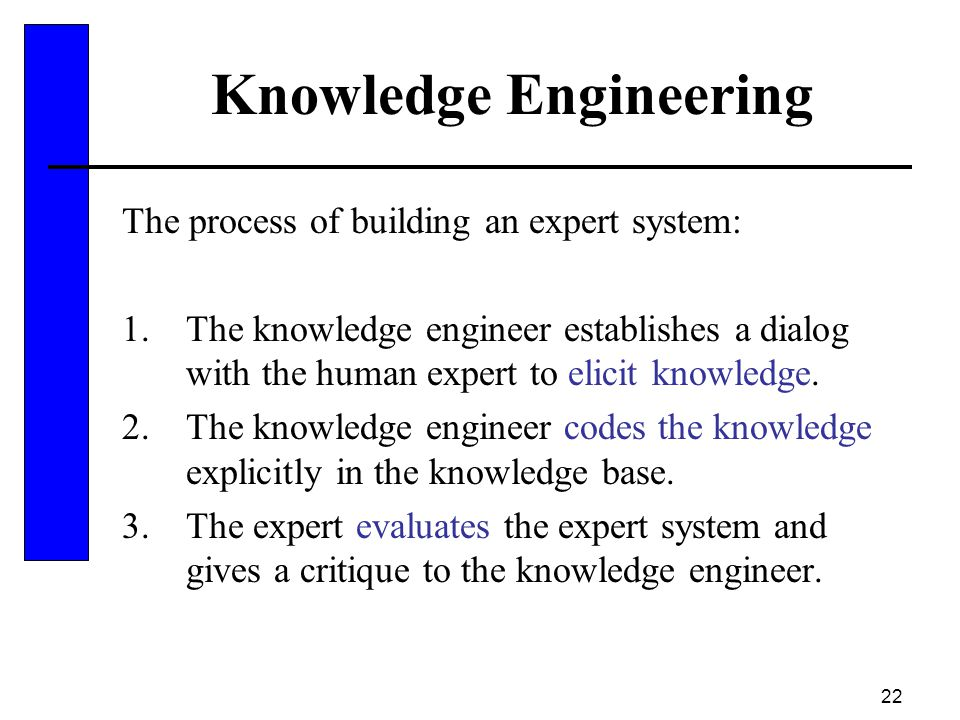 22 Knowledge Engineering The process of building an expert system: 1.The knowledge engineer establishes a dialog with the human expert to elicit knowl