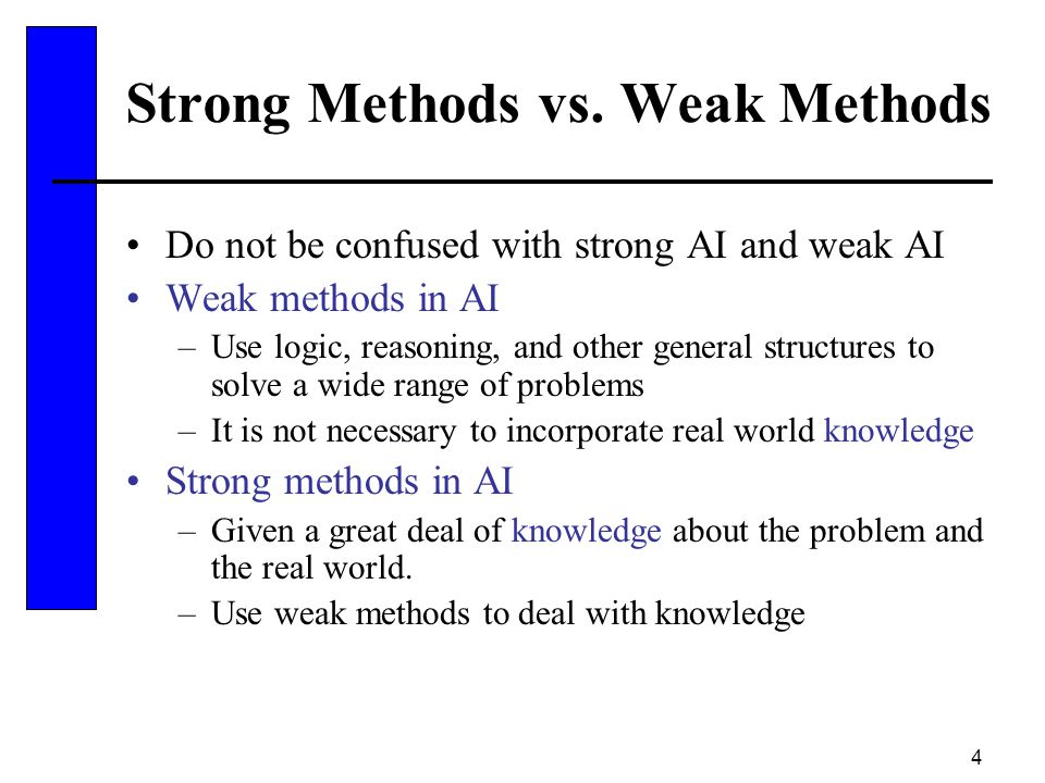 4 Strong Methods vs. Weak Methods Do not be confused with strong AI and weak AI Weak methods in AI –Use logic, reasoning, and other general structures
