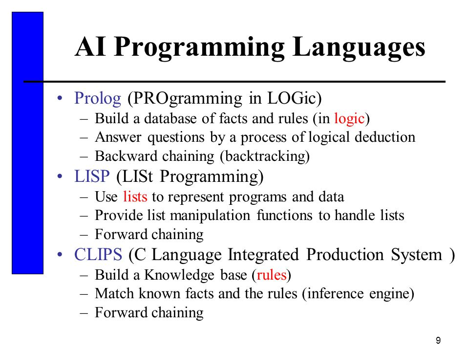 9 AI Programming Languages Prolog (PROgramming in LOGic) –Build a database of facts and rules (in logic) –Answer questions by a process of logical ded