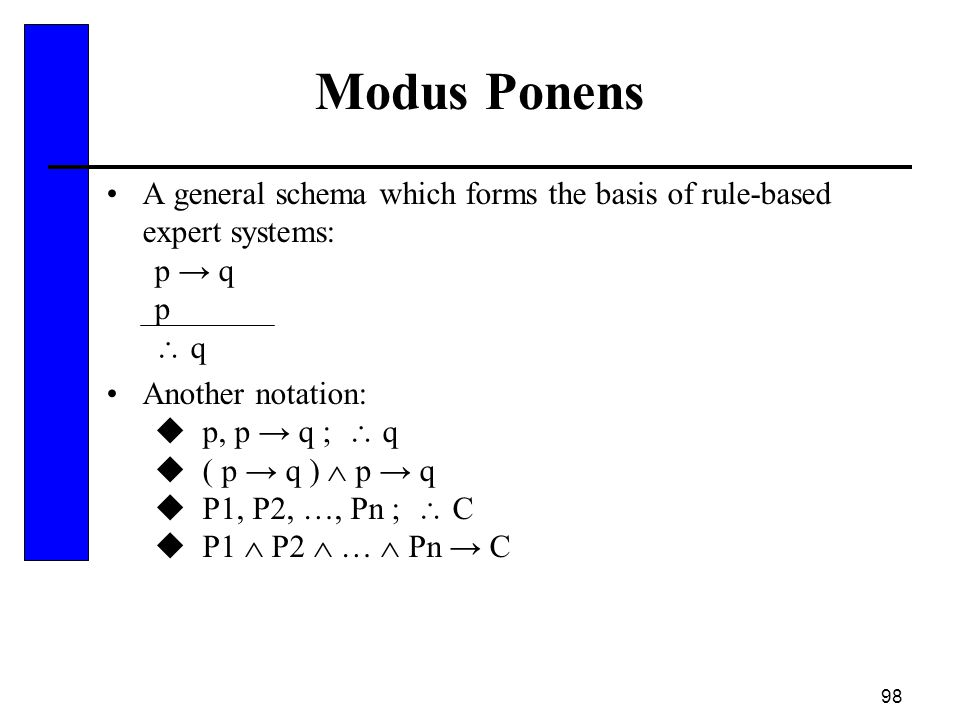 98 Modus Ponens A general schema which forms the basis of rule-based expert systems: p → q p  q Another notation:  p, p → q ;  q  ( p → q )  p →