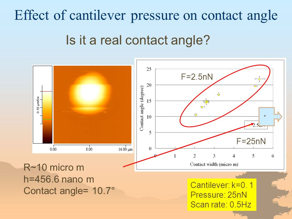 Effect of cantilever pressure on contact angle Is it a real contact angle.