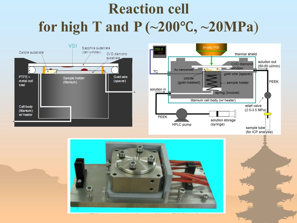 Reaction cell for high T and P (~200 ℃, ~20MPa)