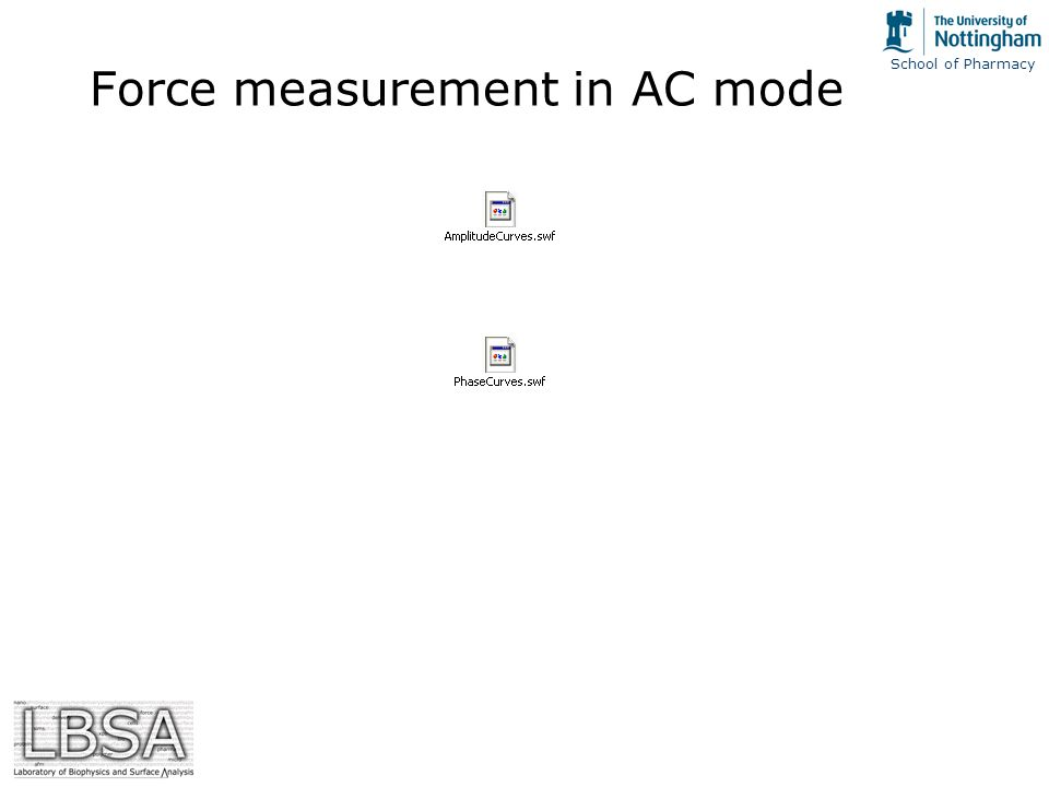 School of Pharmacy Force measurement in AC mode