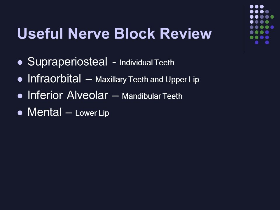 Useful Nerve Block Review Supraperiosteal - Individual Teeth Infraorbital – Maxillary Teeth and Upper Lip Inferior Alveolar – Mandibular Teeth Mental – Lower Lip