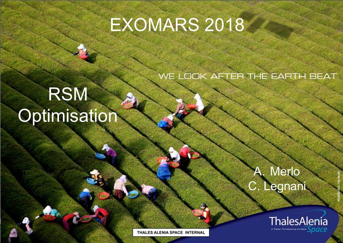 83230352-DOC-TAS-EN-001 EXOMARS 2018 RSM Optimisation A.Merlo C. Legnani