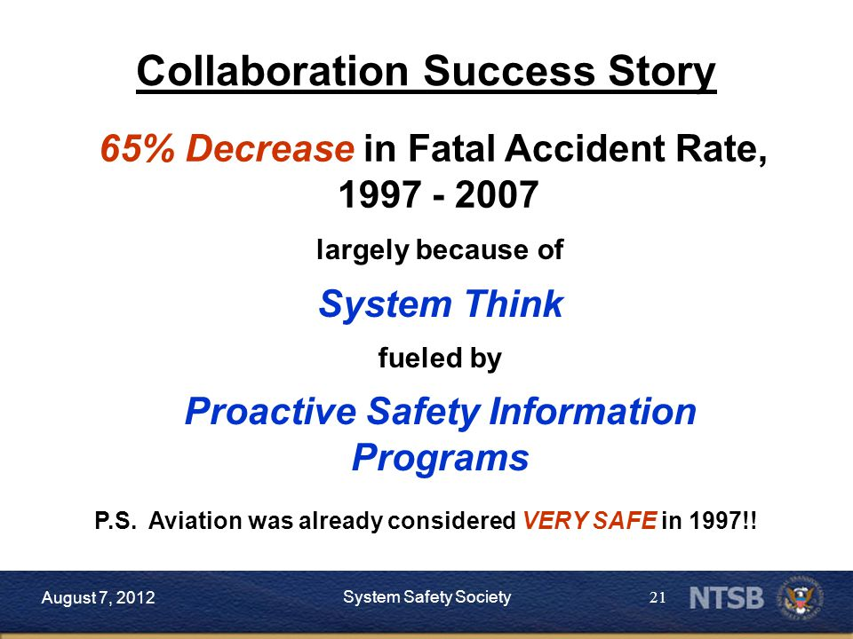 21 65% Decrease in Fatal Accident Rate, 1997 - 2007 largely because of System Think fueled by Proactive Safety Information Programs P.S.