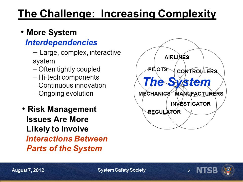 3 More System Interdependencies – Large, complex, interactive system – Often tightly coupled – Hi-tech components – Continuous innovation – Ongoing evolution The Challenge: Increasing Complexity INVESTIGATOR AIRLINES PILOTS REGULATOR CONTROLLERS MECHANICSMANUFACTURERS The System Risk Management Issues Are More Likely to Involve Interactions Between Parts of the System August 7, 2012 System Safety Society