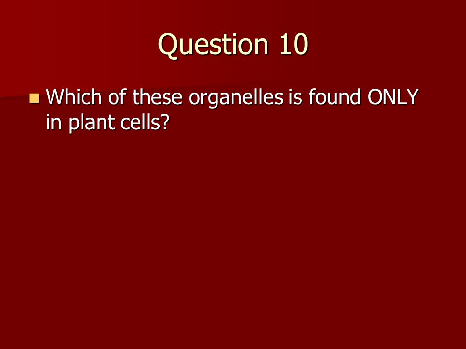 Question 10 Which of these organelles is found ONLY in plant cells? Which of these organelles is found ONLY in plant cells?