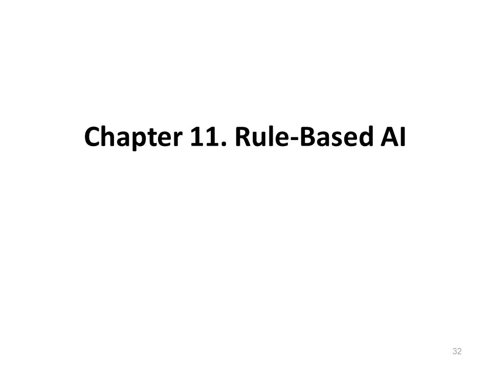 Chapter 11. Rule-Based AI 32