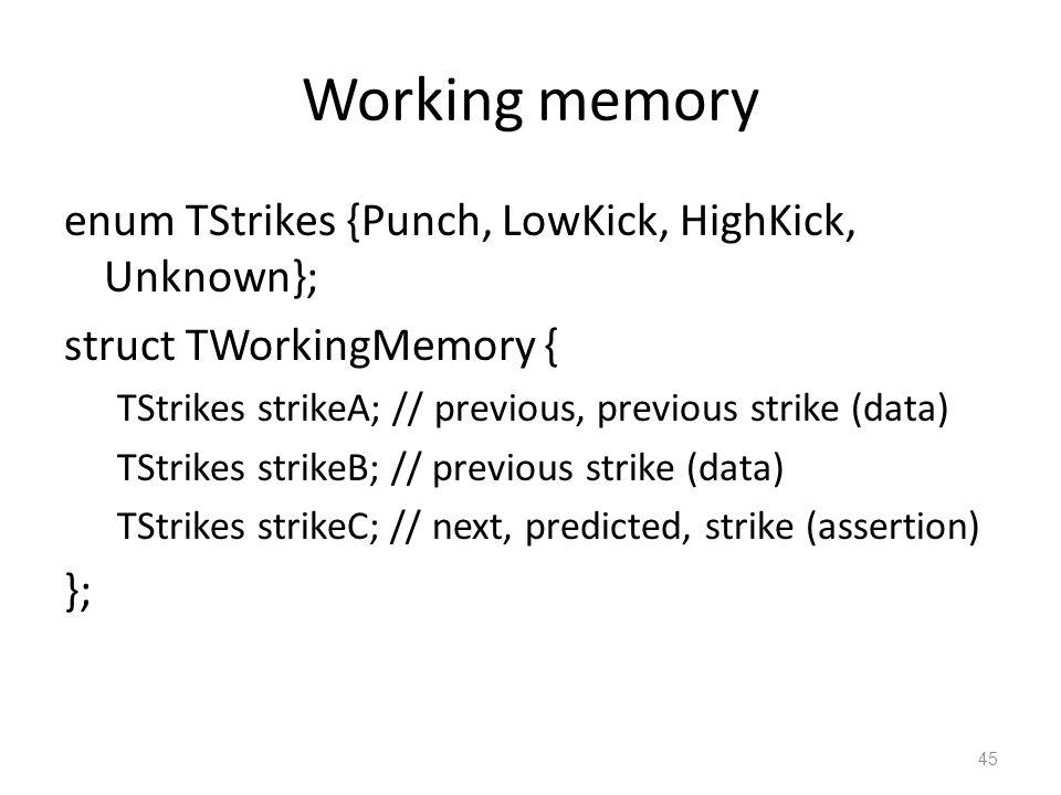 Working memory enum TStrikes {Punch, LowKick, HighKick, Unknown}; struct TWorkingMemory { TStrikes strikeA; // previous, previous strike (data) TStrikes strikeB; // previous strike (data) TStrikes strikeC; // next, predicted, strike (assertion) }; 45