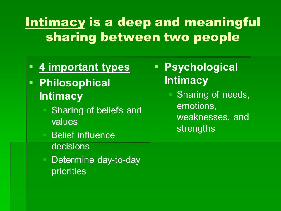 Intimacy is a deep and meaningful sharing between two people   4 important types   Philosophical Intimacy   Sharing of beliefs and values   Be