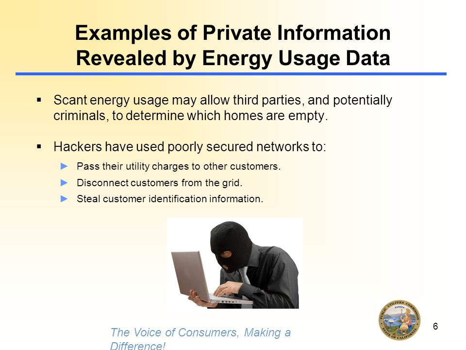 6 Examples of Private Information Revealed by Energy Usage Data  Scant energy usage may allow third parties, and potentially criminals, to determine which homes are empty.