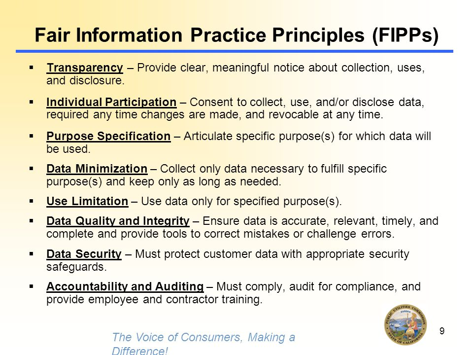 9 Fair Information Practice Principles (FIPPs)  Transparency – Provide clear, meaningful notice about collection, uses, and disclosure.  Individual