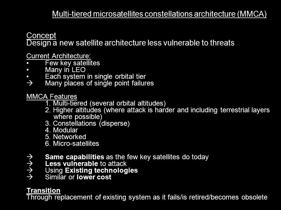 Multi-tiered microsatellites constellations architecture (MMCA) Main functions of military satellites 1.