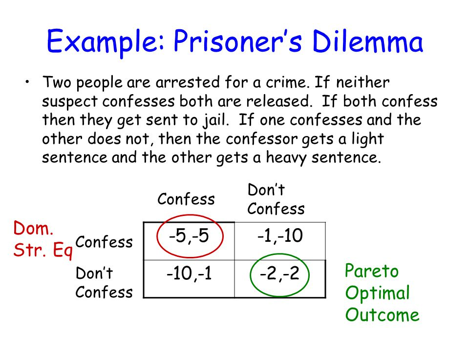 Example: Prisoner's Dilemma Two people are arrested for a crime.