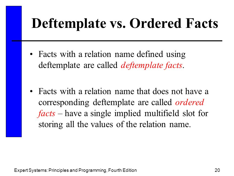 Expert Systems: Principles and Programming, Fourth Edition20 Deftemplate vs. Ordered Facts Facts with a relation name defined using deftemplate are ca