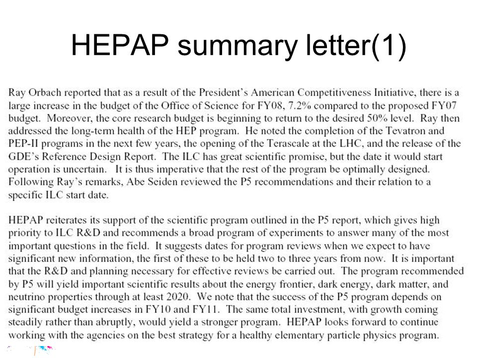 Guy Wormser, ECFA meeting, May 12 2007 HEPAP summary letter (2)