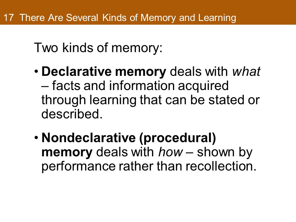 17 There Are Several Kinds of Memory and Learning Two kinds of memory: Declarative memory deals with what – facts and information acquired through learning that can be stated or described.