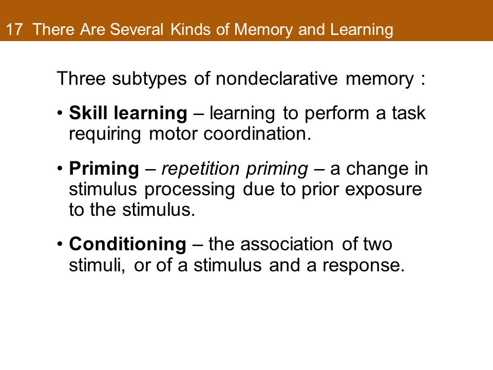 17 There Are Several Kinds of Memory and Learning Three subtypes of nondeclarative memory : Skill learning – learning to perform a task requiring motor coordination.