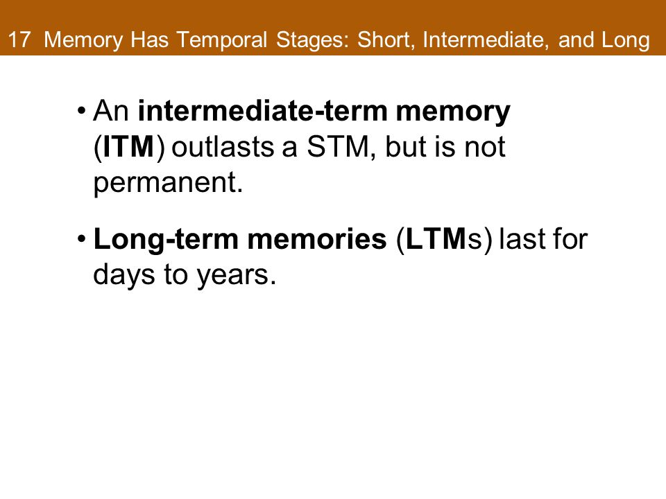 17 Memory Has Temporal Stages: Short, Intermediate, and Long An intermediate-term memory (ITM) outlasts a STM, but is not permanent.