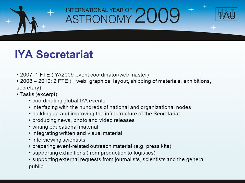 IYA Secretariat Should be up and running ~1.