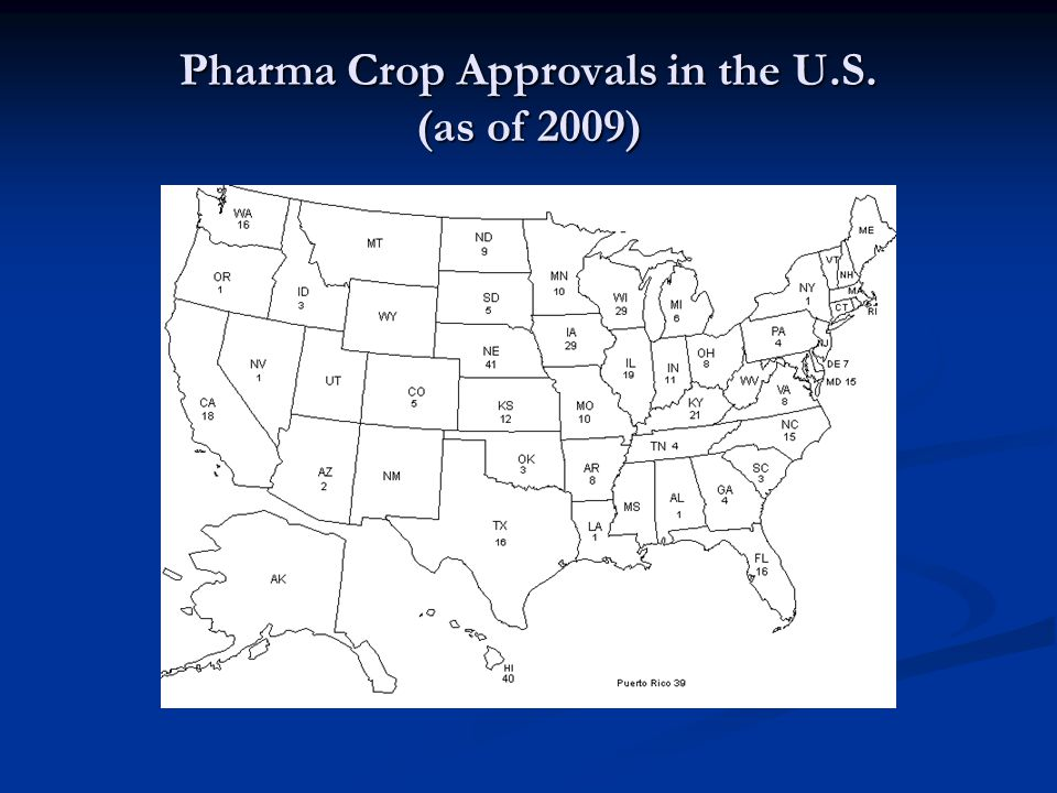 Pharma Crop Approvals in the U.S. (as of 2009)