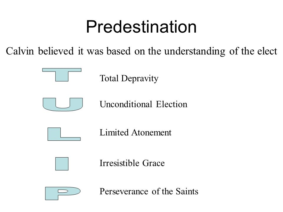 Calvin believed it was based on the understanding of the elect Total Depravity Unconditional Election Limited Atonement Irresistible Grace Perseverance of the Saints