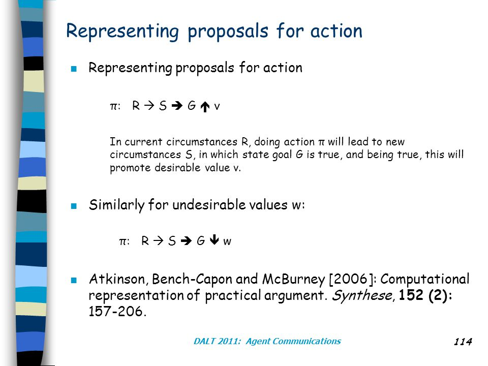 Representing proposals for action n Representing proposals for action π: R  S  G  v In current circumstances R, doing action π will lead to new circumstances S, in which state goal G is true, and being true, this will promote desirable value v.