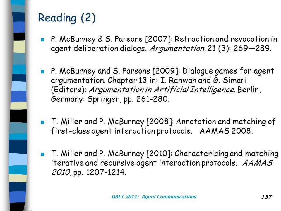 Reading (2) n P.McBurney & S.