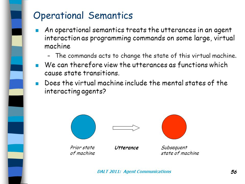 DALT 2011: Agent Communications 56 Operational Semantics n An operational semantics treats the utterances in an agent interaction as programming commands on some large, virtual machine –The commands acts to change the state of this virtual machine.