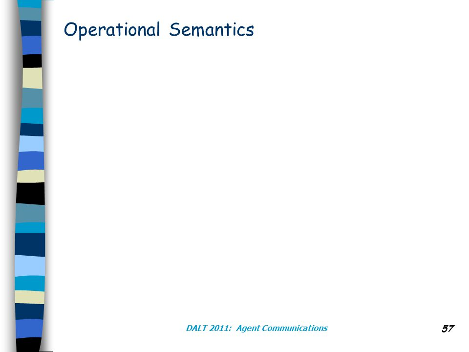 Operational Semantics DALT 2011: Agent Communications 57