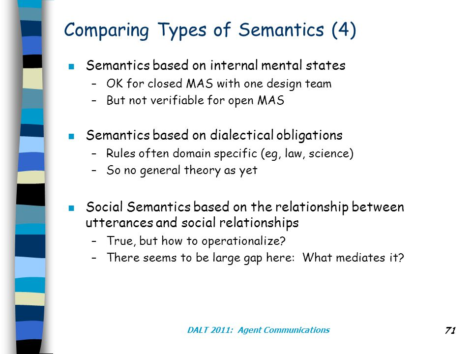 Comparing Types of Semantics (4) n Semantics based on internal mental states –OK for closed MAS with one design team –But not verifiable for open MAS n Semantics based on dialectical obligations –Rules often domain specific (eg, law, science) –So no general theory as yet n Social Semantics based on the relationship between utterances and social relationships –True, but how to operationalize.