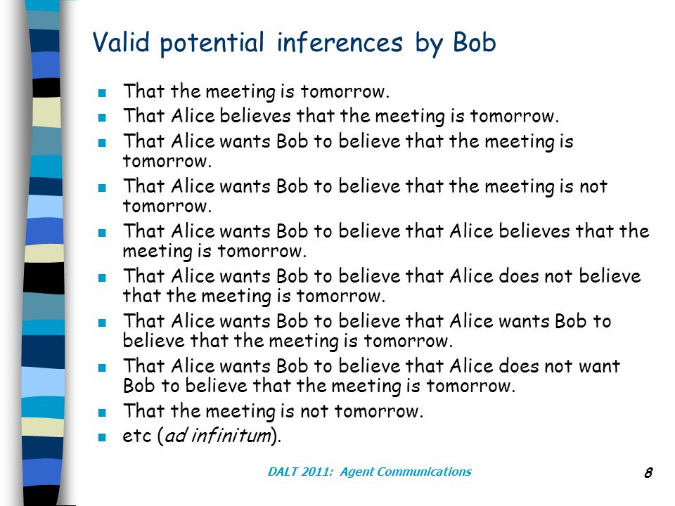 DALT 2011: Agent Communications 8 Valid potential inferences by Bob n That the meeting is tomorrow.