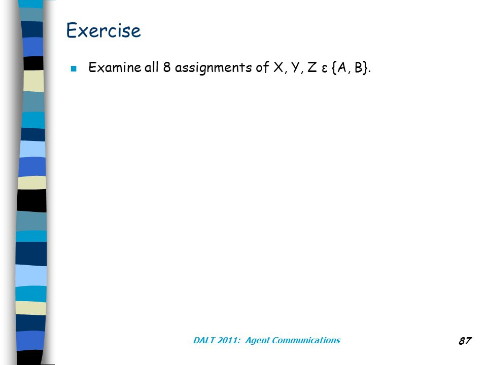 Exercise n Examine all 8 assignments of X, Y, Z ε {A, B}. DALT 2011: Agent Communications 87