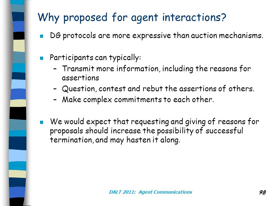 DALT 2011: Agent Communications 98 Why proposed for agent interactions.