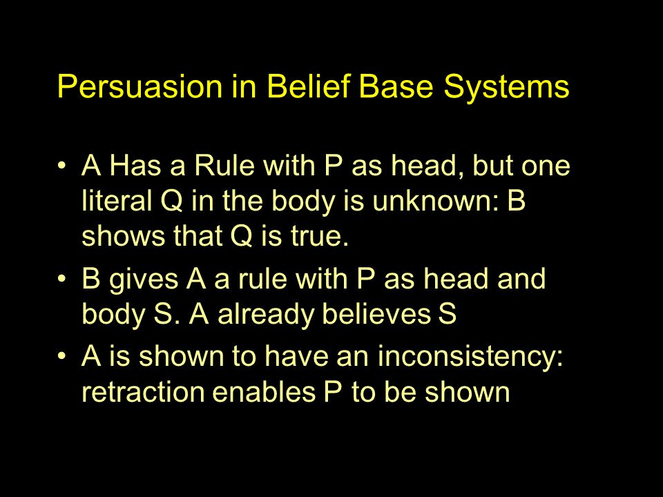 Persuasion in Belief Base Systems A Has a Rule with P as head, but one literal Q in the body is unknown: B shows that Q is true.