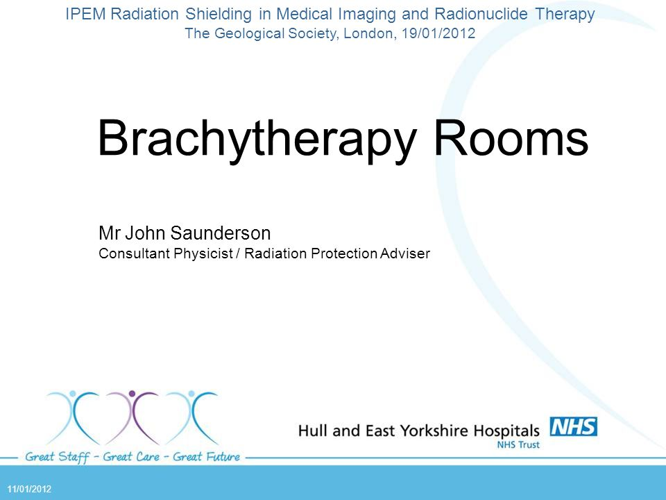 Brachytherapy Rooms Mr John Saunderson Consultant Physicist / Radiation Protection Adviser IPEM Radiation Shielding in Medical Imaging and Radionuclid
