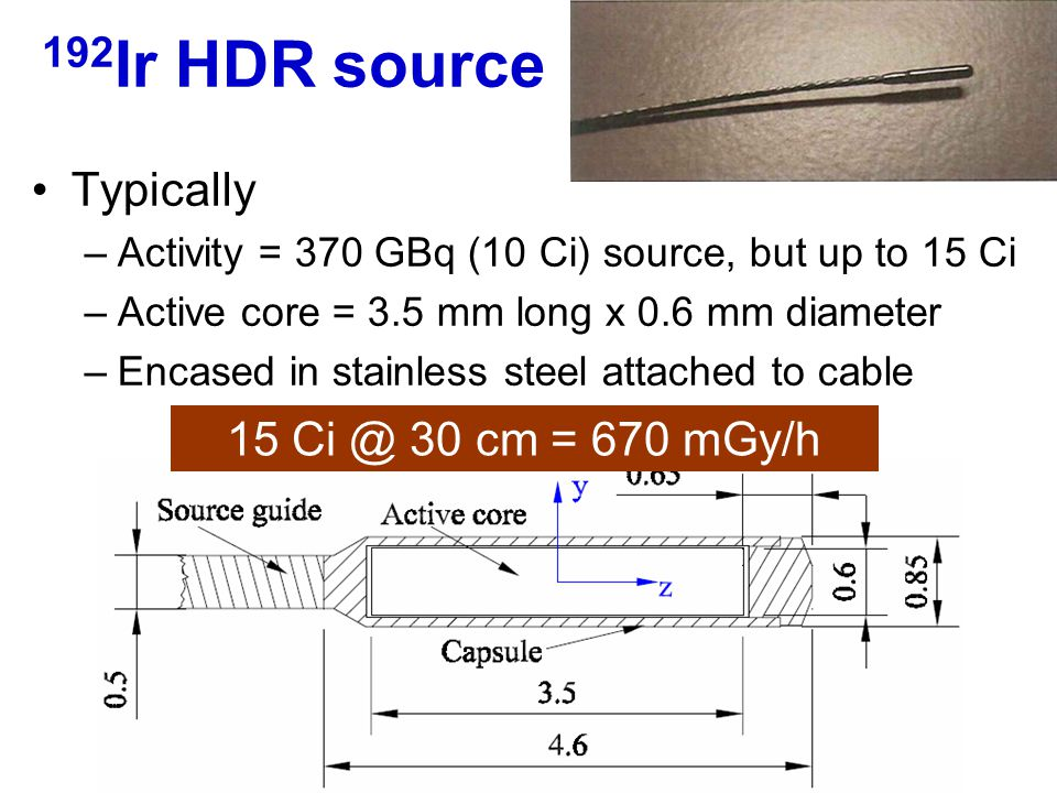 Typically –Activity = 370 GBq (10 Ci) source, but up to 15 Ci –Active core = 3.5 mm long x 0.6 mm diameter –Encased in stainless steel attached to cab