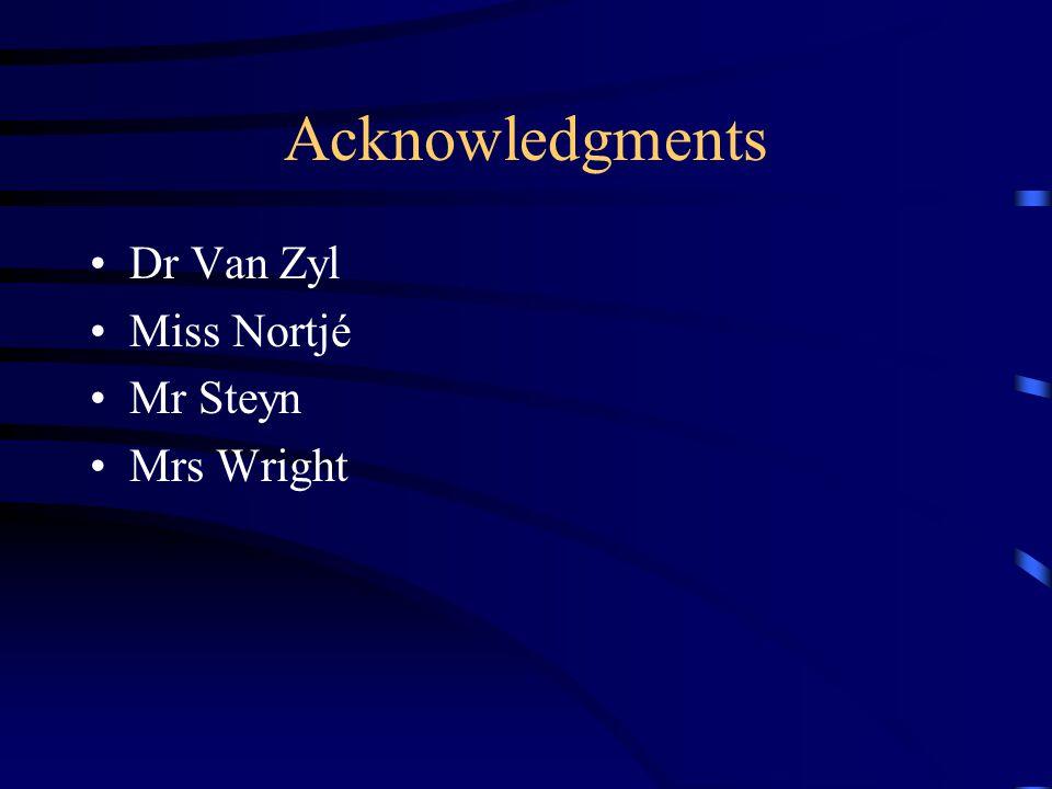 Acknowledgments Dr Van Zyl Miss Nortjé Mr Steyn Mrs Wright