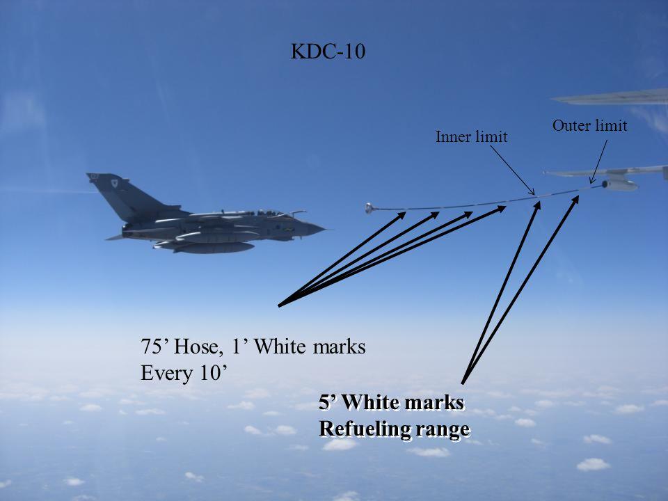 5' White marks Refueling range 5' White marks Refueling range 75' Hose, 1' White marks Every 10' Outer limit Inner limit KDC-10