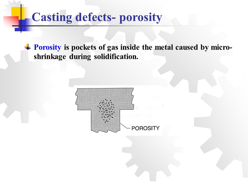 Porosity is pockets of gas inside the metal caused by micro- shrinkage during solidification. Casting defects- porosity