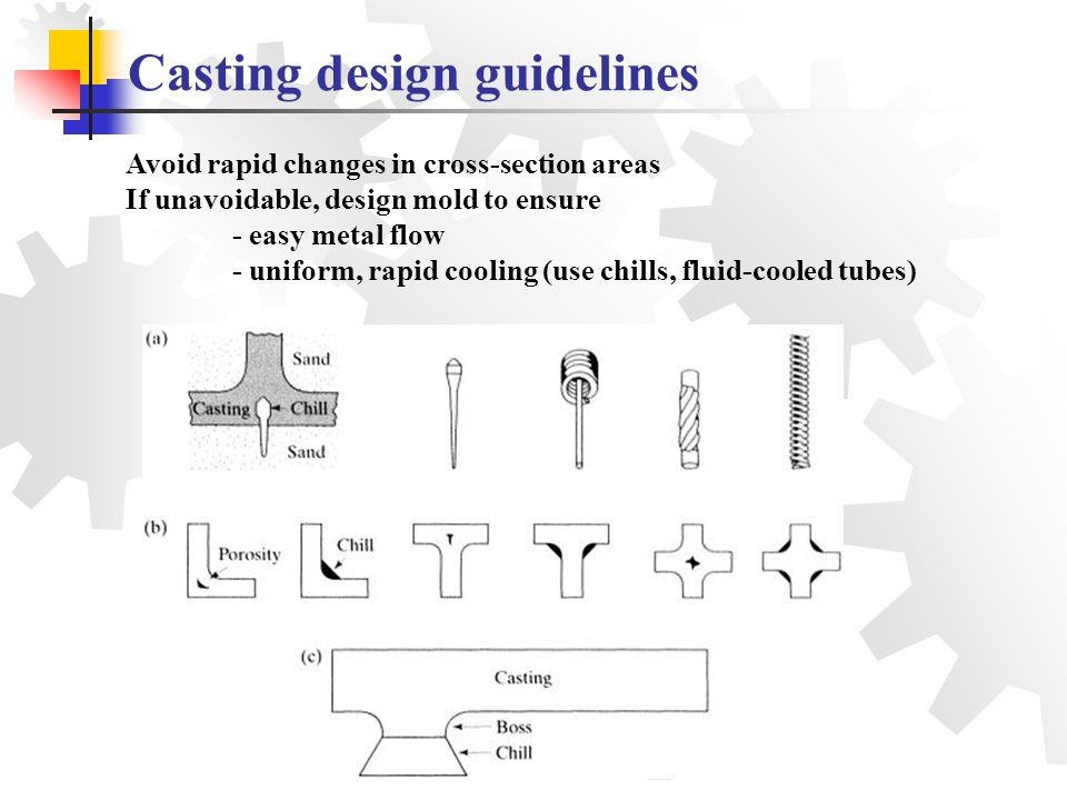 Avoid rapid changes in cross-section areas If unavoidable, design mold to ensure - easy metal flow - uniform, rapid cooling (use chills, fluid-cooled