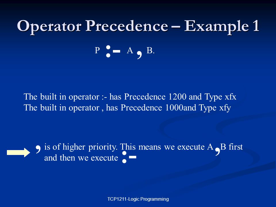 TCP1211-Logic Programming Operator Precedence – Example 1 P A B.