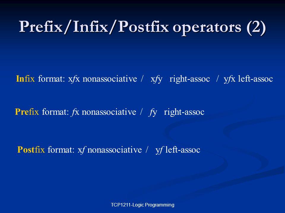 TCP1211-Logic Programming Prefix/Infix/Postfix operators (2) Infix format: xfx nonassociative / xfy right-assoc / yfx left-assoc Prefix format: fx nonassociative / fy right-assoc Postfix format: xf nonassociative / yf left-assoc