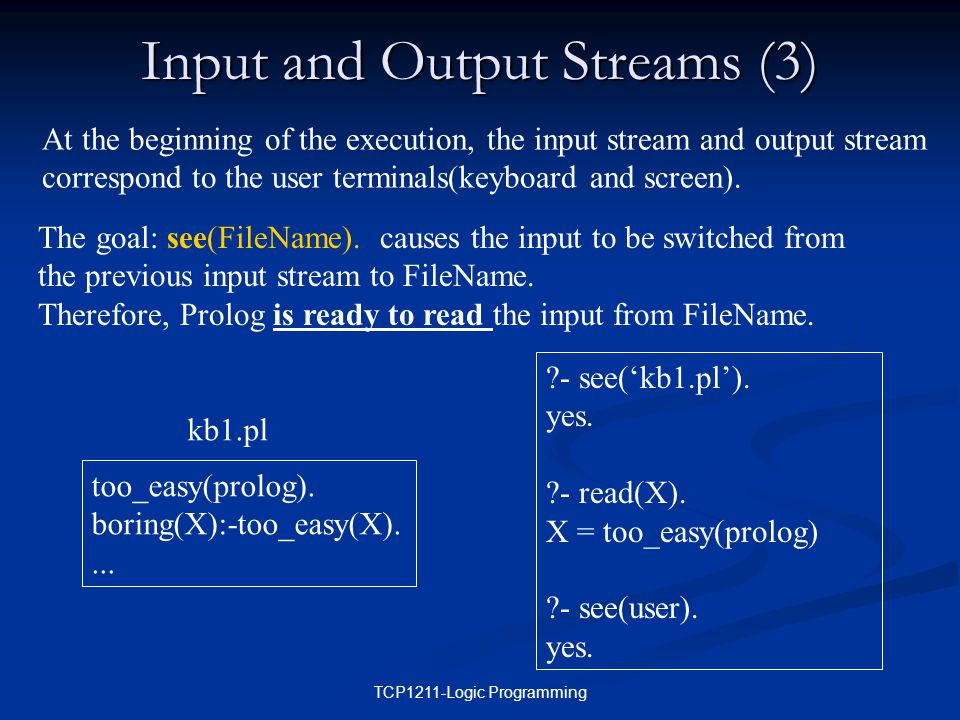 TCP1211-Logic Programming Input and Output Streams (3) At the beginning of the execution, the input stream and output stream correspond to the user terminals(keyboard and screen).