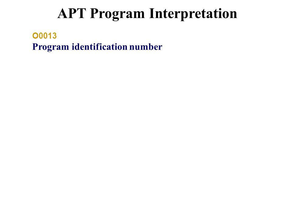 APT Program Interpretation O0013 Program identification number