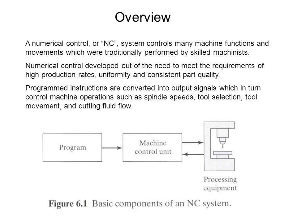 Overview A numerical control, or NC , system controls many machine functions and movements which were traditionally performed by skilled machinists.
